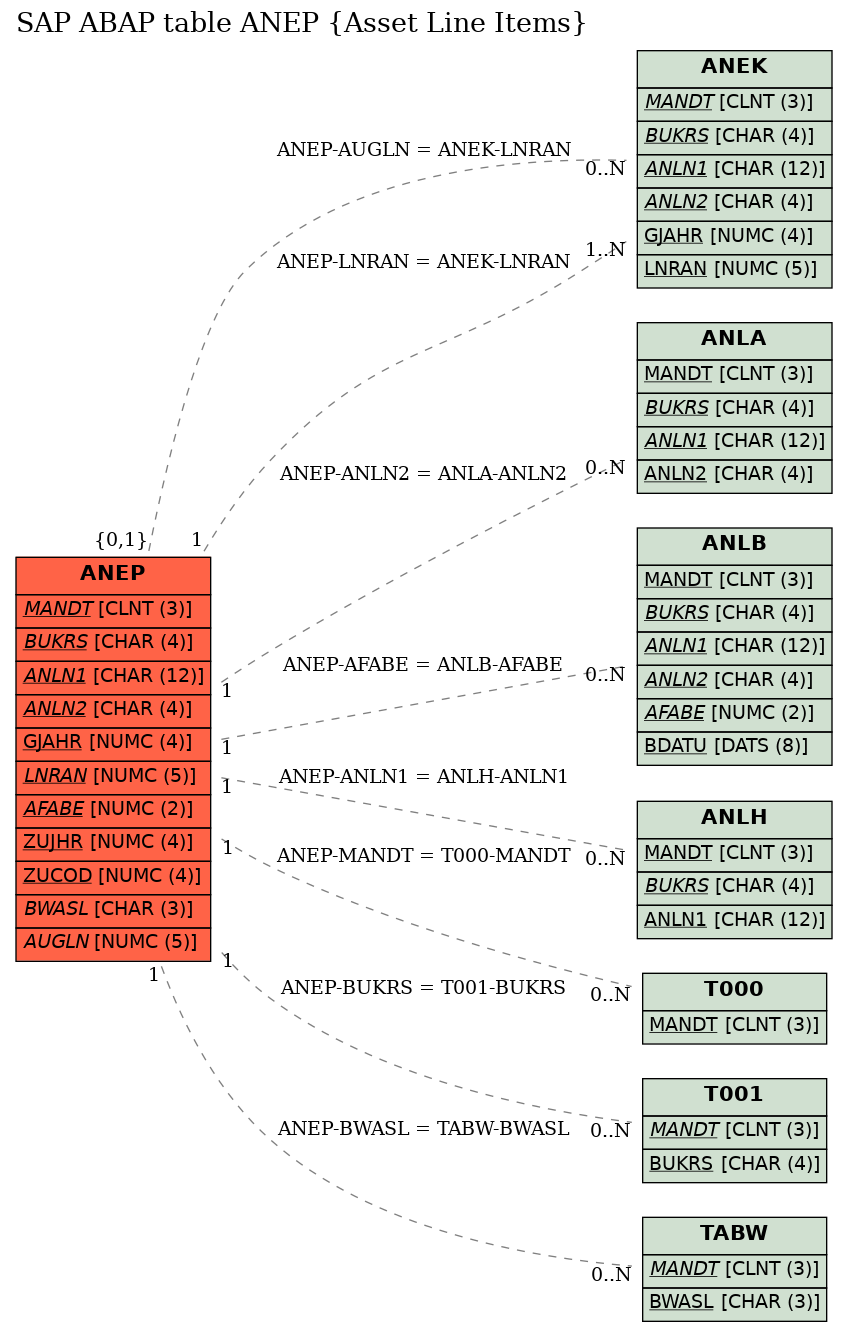 E-R Diagram for table ANEP (Asset Line Items)