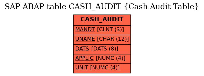 E-R Diagram for table CASH_AUDIT (Cash Audit Table)
