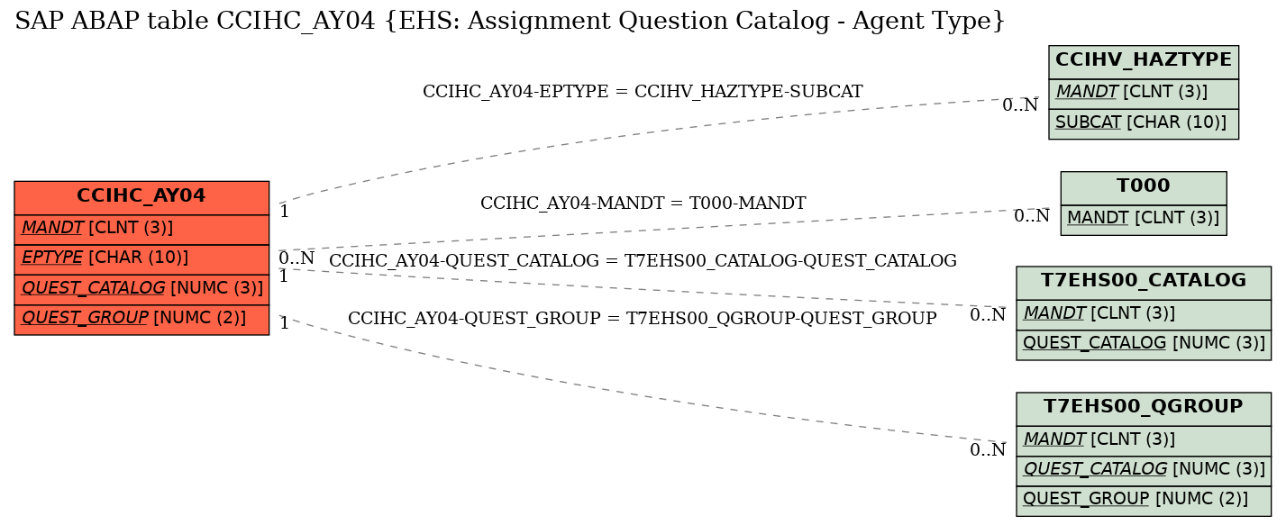 E-R Diagram for table CCIHC_AY04 (EHS: Assignment Question Catalog - Agent Type)