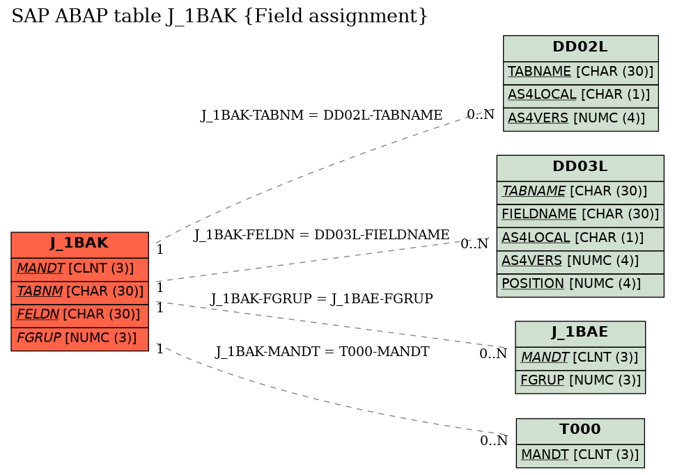 E-R Diagram for table J_1BAK (Field assignment)