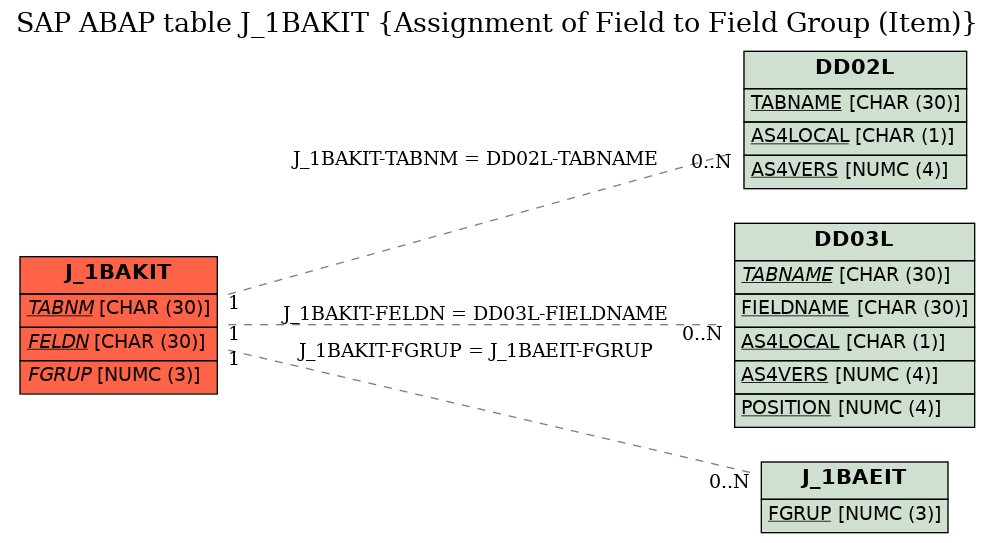 E-R Diagram for table J_1BAKIT (Assignment of Field to Field Group (Item))
