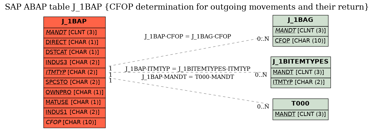 E-R Diagram for table J_1BAP (CFOP determination for outgoing movements and their return)