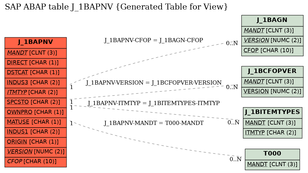E-R Diagram for table J_1BAPNV (Generated Table for View)