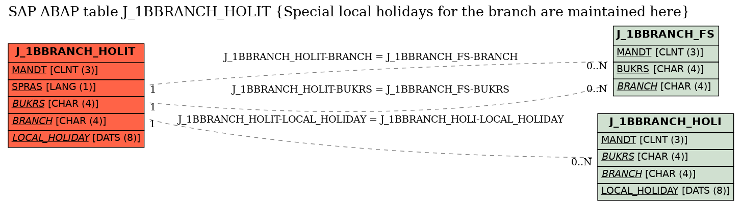E-R Diagram for table J_1BBRANCH_HOLIT (Special local holidays for the branch are maintained here)
