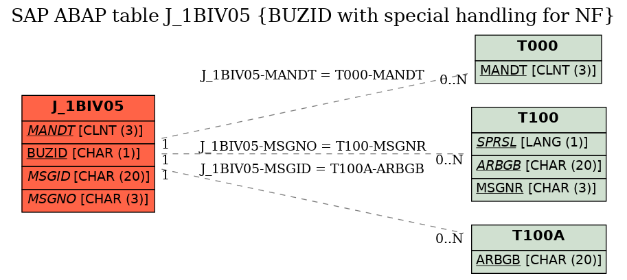 E-R Diagram for table J_1BIV05 (BUZID with special handling for NF)