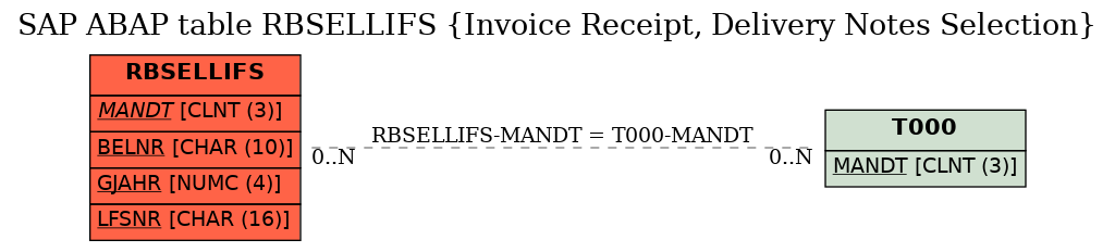 SAP ABAP Table RBSELLIFS (Invoice Receipt, Delivery Notes
