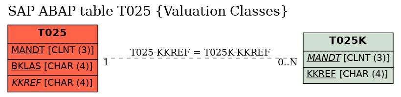 E-R Diagram for table T025 (Valuation Classes)