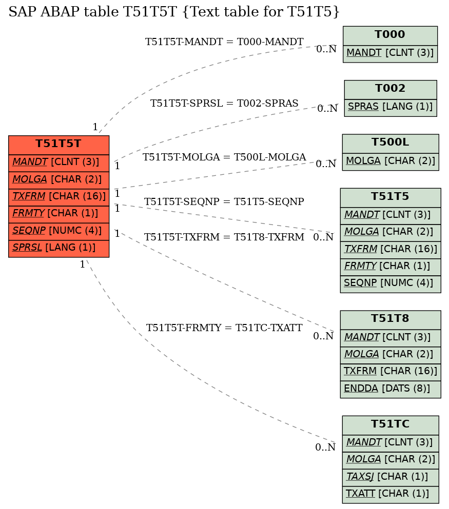 E-R Diagram for table T51T5T (Text table for T51T5)