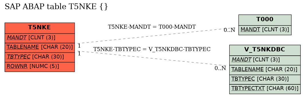E-R Diagram for table T5NKE ()