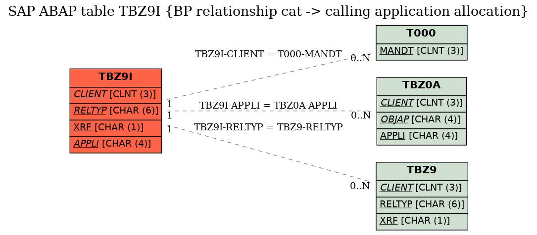 E-R Diagram for table TBZ9I (BP relationship cat -> calling application allocation)