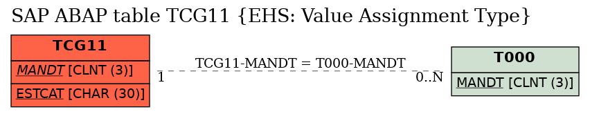 E-R Diagram for table TCG11 (EHS: Value Assignment Type)