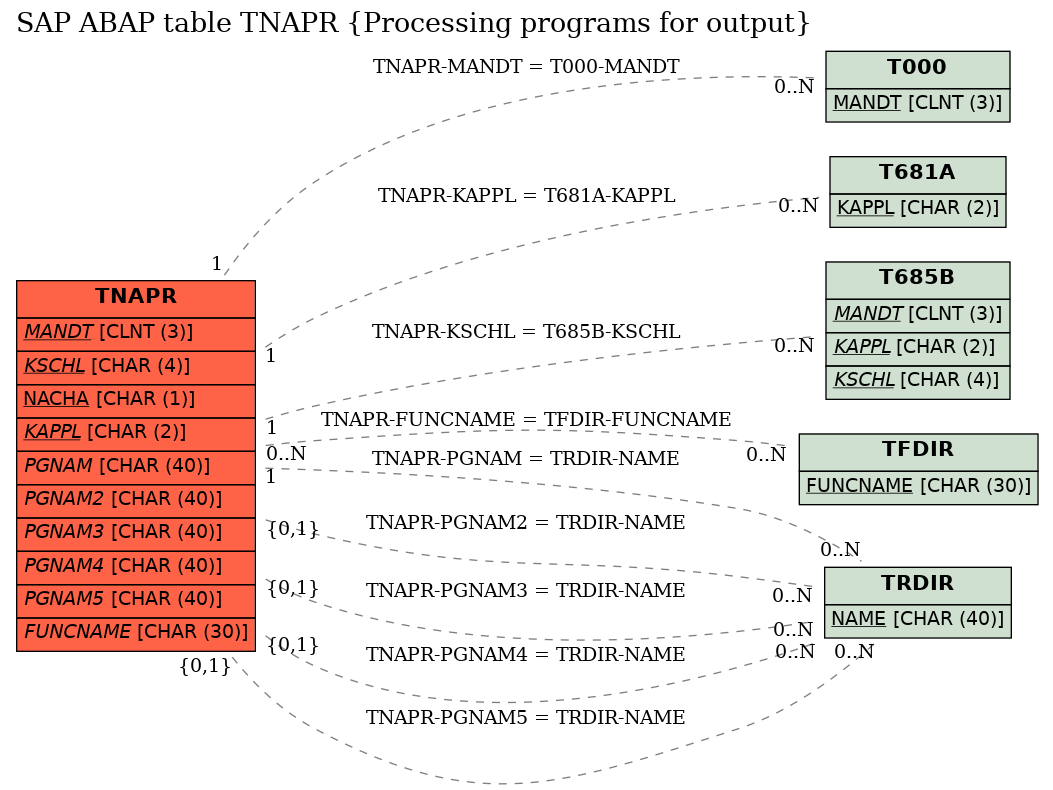 E-R Diagram for table TNAPR (Processing programs for output)